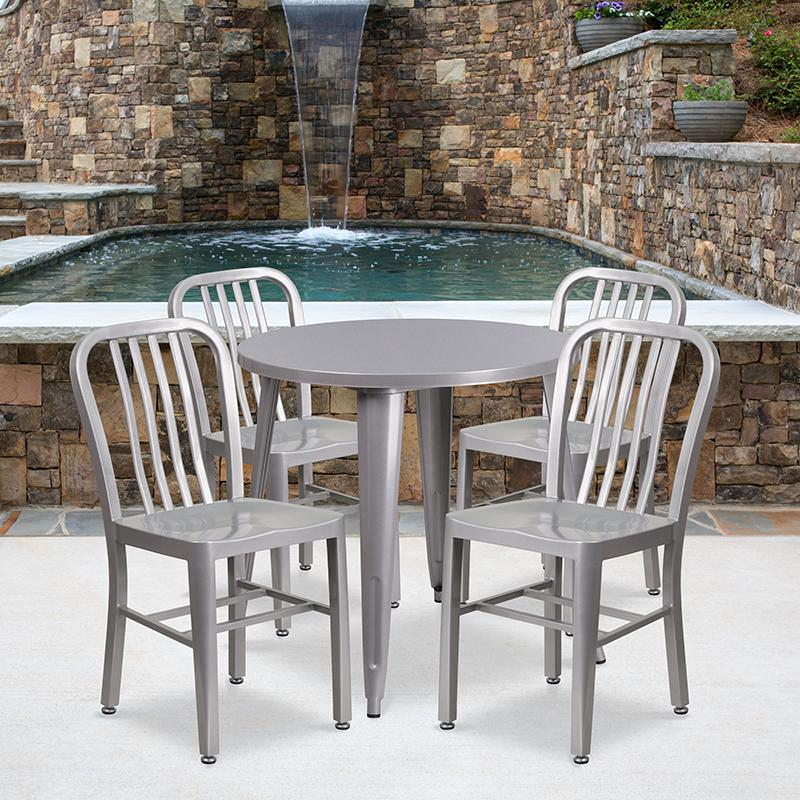 Flash Furniture 30'' Round Silver Metal Indoor-Outdoor Table Set with 4 Vertical Slat Back Chairs - CH-51090TH-4-18VRT-SIL-GG