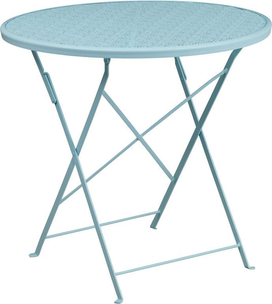 Flash Furniture 30'' Round Sky Blue Indoor-Outdoor Steel Folding Patio Table - CO-4-SKY-GG