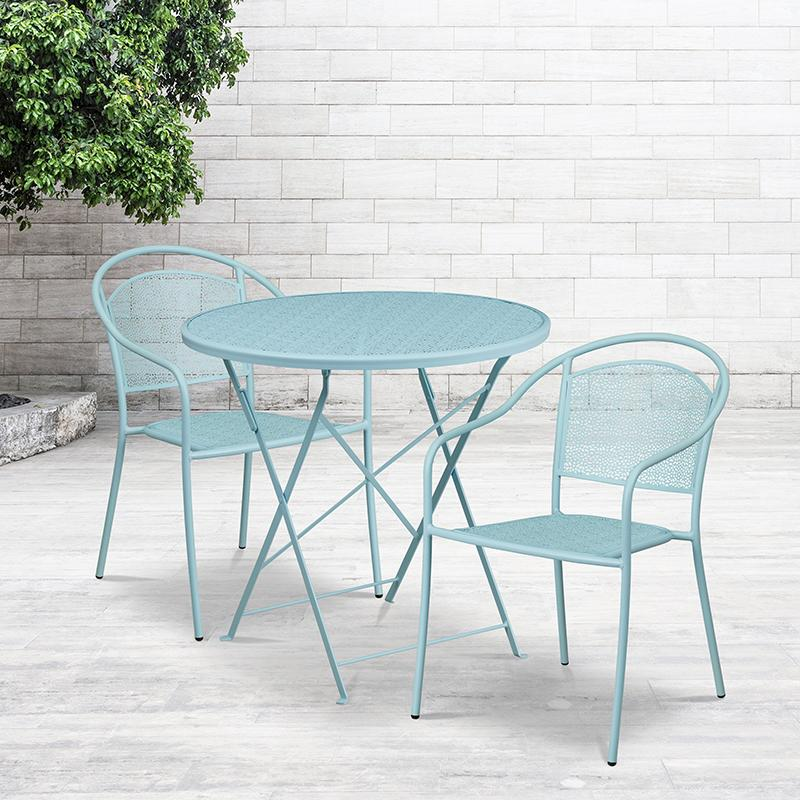 Flash Furniture 30'' Round Sky Blue Indoor-Outdoor Steel Folding Patio Table Set with 2 Round Back Chairs - CO-30RDF-03CHR2-SKY-GG