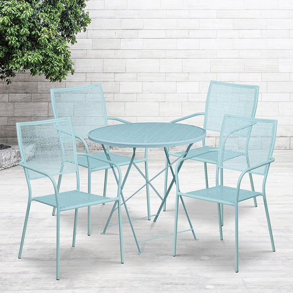 Flash Furniture 30'' Round Sky Blue Indoor-Outdoor Steel Folding Patio Table Set with 4 Square Back Chairs - CO-30RDF-02CHR4-SKY-GG