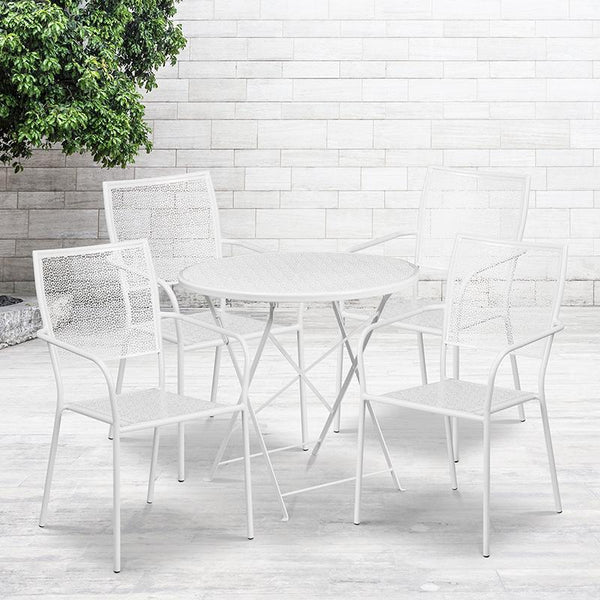 Flash Furniture 30'' Round White Indoor-Outdoor Steel Folding Patio Table Set with 4 Square Back Chairs - CO-30RDF-02CHR4-WH-GG