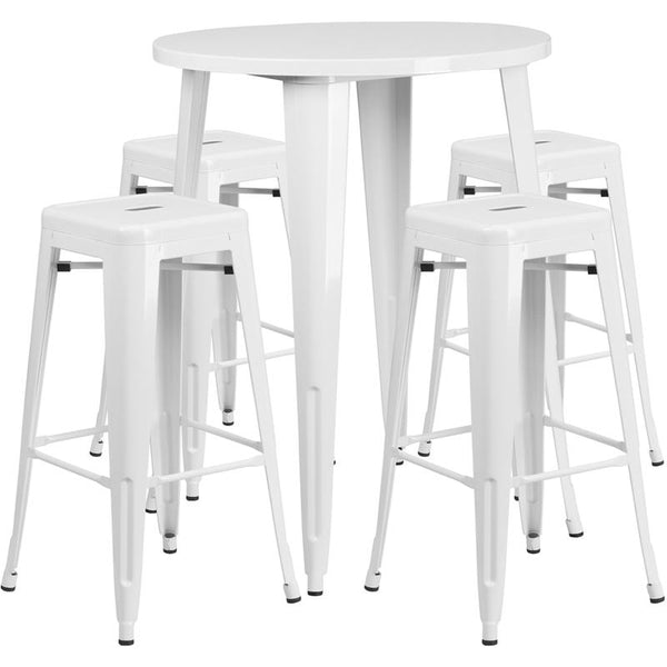 Flash Furniture 30'' Round White Metal Indoor-Outdoor Bar Table Set with 4 Square Seat Backless Stools - CH-51090BH-4-30SQST-WH-GG