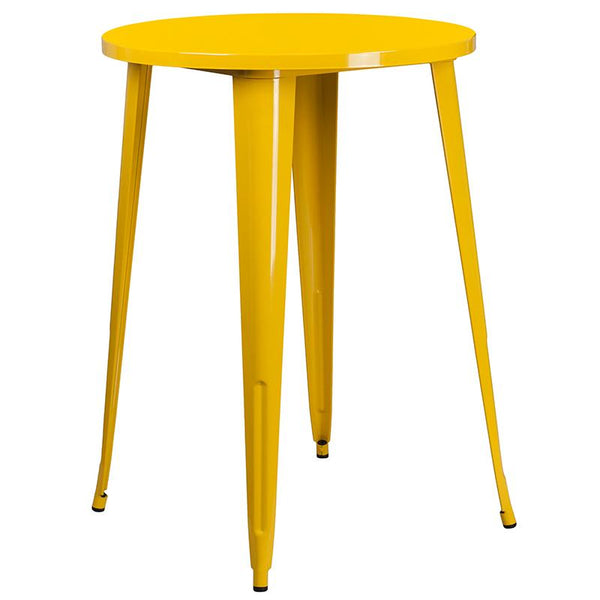 Flash Furniture 30'' Round Yellow Metal Indoor-Outdoor Bar Table Set with 2 Square Seat Backless Stools - CH-51090BH-2-30SQST-YL-GG