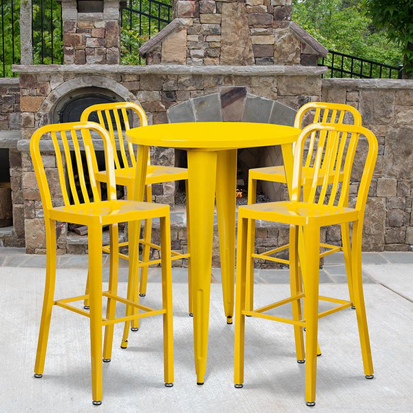 Flash Furniture 30'' Round Yellow Metal Indoor-Outdoor Bar Table Set with 4 Vertical Slat Back Stools - CH-51090BH-4-30VRT-YL-GG