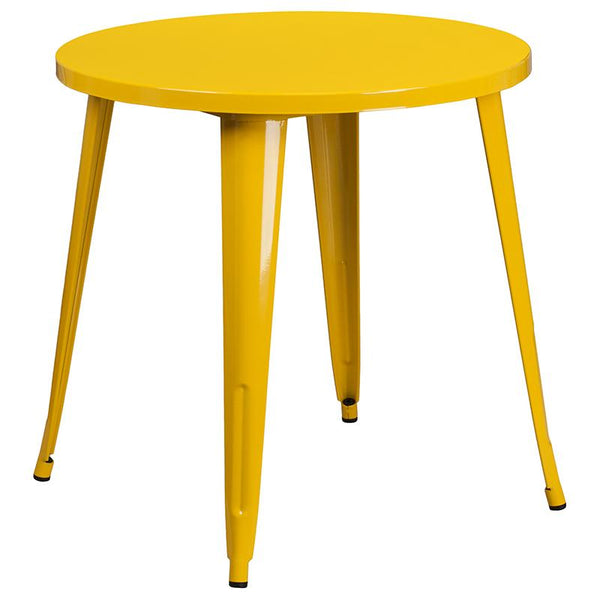 Flash Furniture 30'' Round Yellow Metal Indoor-Outdoor Table Set with 2 Vertical Slat Back Chairs - CH-51090TH-2-18VRT-YL-GG