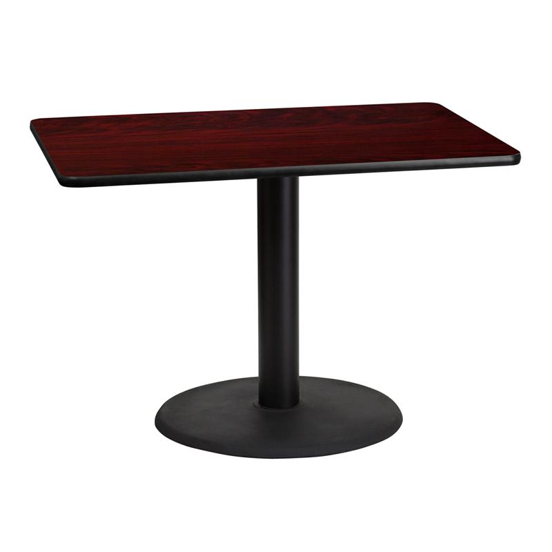 Flash Furniture 30'' x 42'' Rectangular Mahogany Laminate Table Top with 24'' Round Table Height Base - XU-MAHTB-3042-TR24-GG