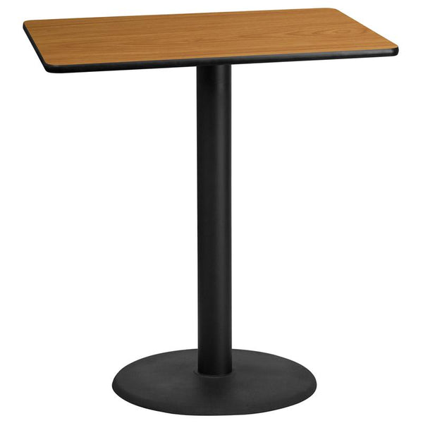 Flash Furniture 30'' x 42'' Rectangular Natural Laminate Table Top with 24'' Round Bar Height Table Base - XU-NATTB-3042-TR24B-GG