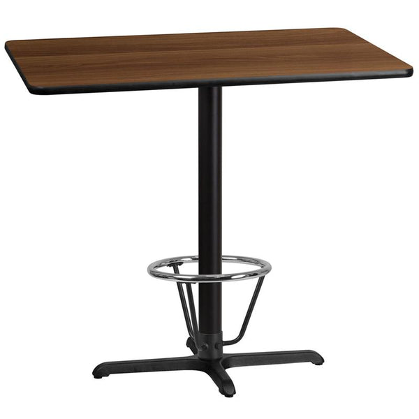 Flash Furniture 30'' x 45'' Rectangular Walnut Laminate Table Top with 22'' x 30'' Bar Height Table Base and Foot Ring - XU-WALTB-3045-T2230B-3CFR-GG