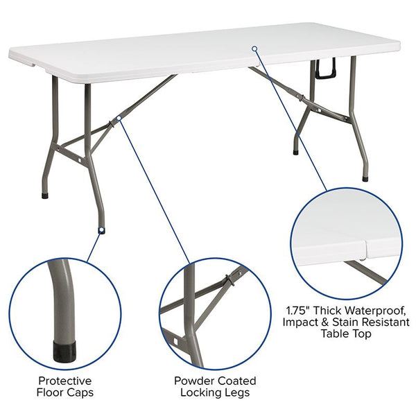 Flash Furniture 30''W x 72''L Bi-Fold Granite White Plastic Folding Table - DAD-YCZ-183Z-GG