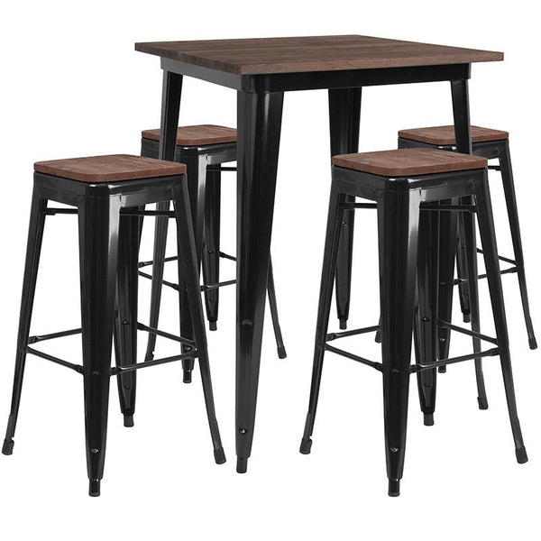 "Flash Furniture 31.5"" Square Black Metal Bar Table Set with Wood Top and 4 Backless Stools - CH-WD-TBCH-20-GG"