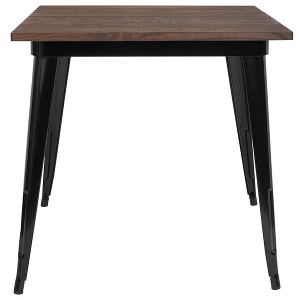 "Flash Furniture 31.5"" Square Black Metal Indoor Table with Walnut Rustic Wood Top - CH-51040-29M1-BK-GG"