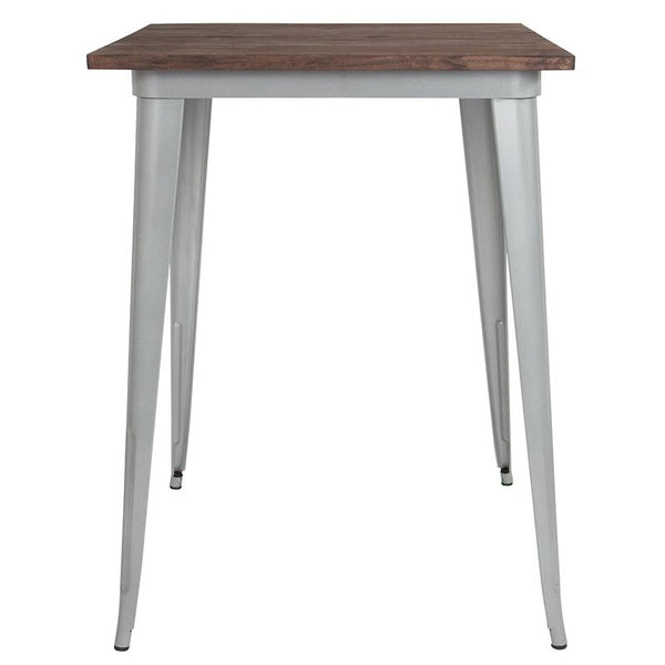 "Flash Furniture 31.5"" Square Silver Metal Indoor Bar Height Table with Walnut Rustic Wood Top - CH-51040-40M1-SIL-GG"
