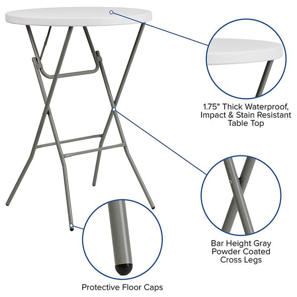 Flash Furniture 32'' Round Granite White Plastic Bar Height Folding Table - DAD-YCZ-80R-2-BAR-GW-GG
