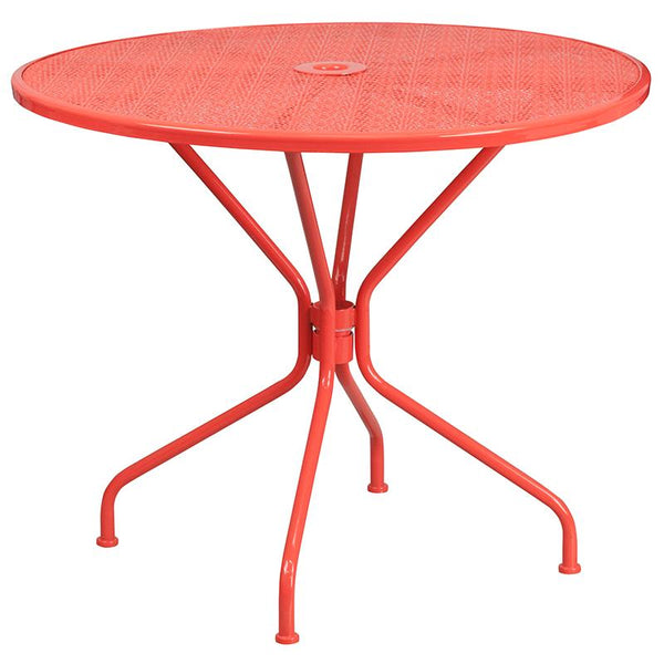 Flash Furniture 35.25'' Round Coral Indoor-Outdoor Steel Patio Table Set with 4 Square Back Chairs - CO-35RD-02CHR4-RED-GG