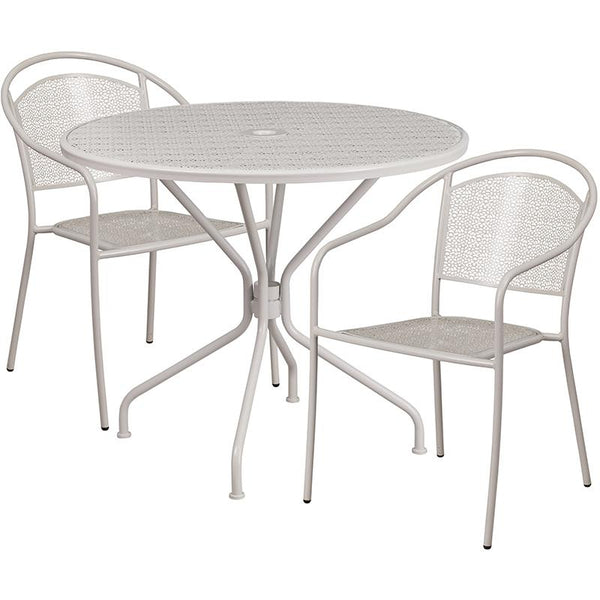 Flash Furniture 35.25'' Round Light Gray Indoor-Outdoor Steel Patio Table Set with 2 Round Back Chairs - CO-35RD-03CHR2-SIL-GG