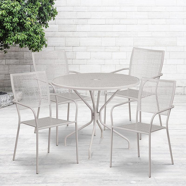 Flash Furniture 35.25'' Round Light Gray Indoor-Outdoor Steel Patio Table Set with 4 Square Back Chairs - CO-35RD-02CHR4-SIL-GG