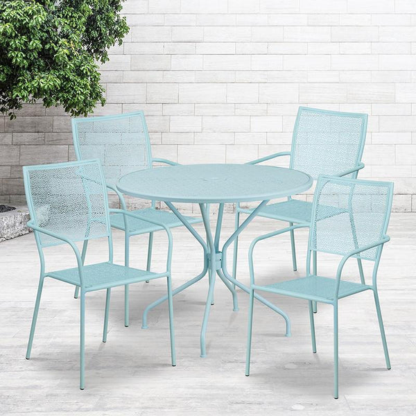 Flash Furniture 35.25'' Round Sky Blue Indoor-Outdoor Steel Patio Table Set with 4 Square Back Chairs - CO-35RD-02CHR4-SKY-GG