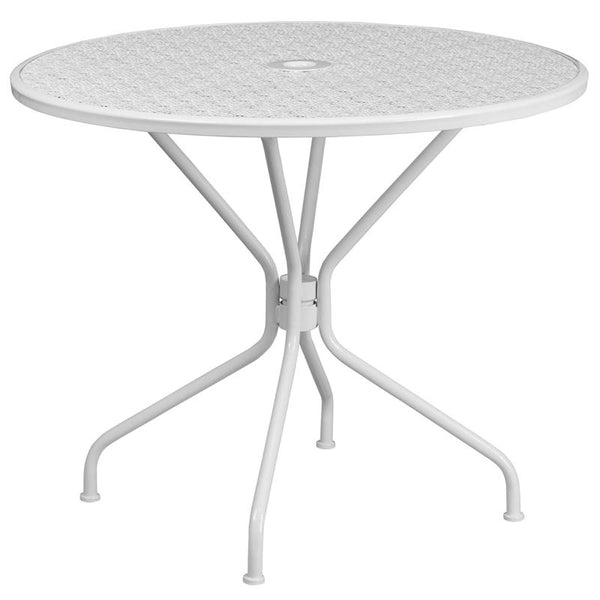 Flash Furniture 35.25'' Round White Indoor-Outdoor Steel Patio Table - CO-7-WH-GG