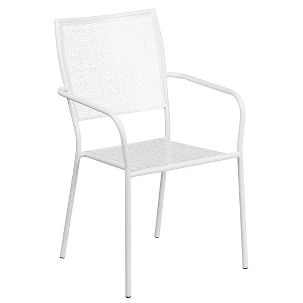 Flash Furniture 35.25'' Round White Indoor-Outdoor Steel Patio Table Set with 4 Square Back Chairs - CO-35RD-02CHR4-WH-GG