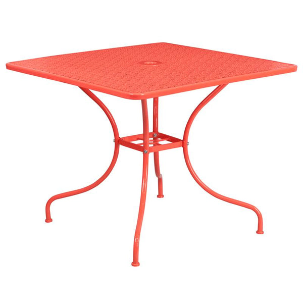 Flash Furniture 35.5'' Square Coral Indoor-Outdoor Steel Patio Table - CO-6-RED-GG