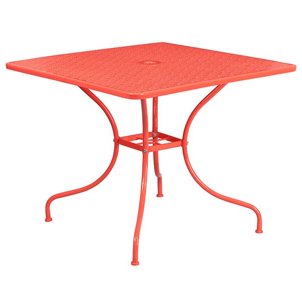 Flash Furniture 35.5'' Square Coral Indoor-Outdoor Steel Patio Table Set with 2 Square Back Chairs - CO-35SQ-02CHR2-RED-GG