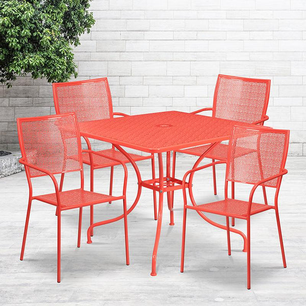 Flash Furniture 35.5'' Square Coral Indoor-Outdoor Steel Patio Table Set with 4 Square Back Chairs - CO-35SQ-02CHR4-RED-GG