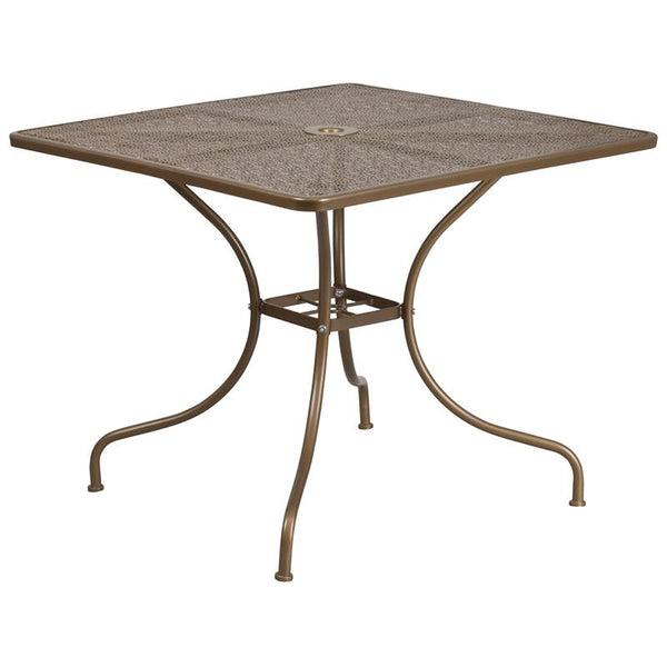 Flash Furniture 35.5'' Square Gold Indoor-Outdoor Steel Patio Table - CO-6-GD-GG