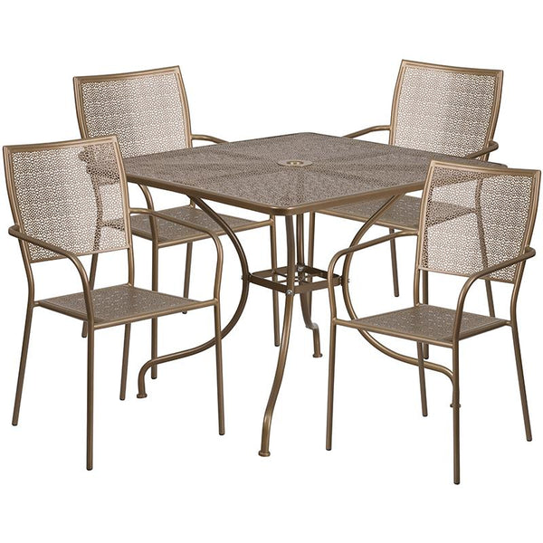Flash Furniture 35.5'' Square Gold Indoor-Outdoor Steel Patio Table Set with 4 Square Back Chairs - CO-35SQ-02CHR4-GD-GG