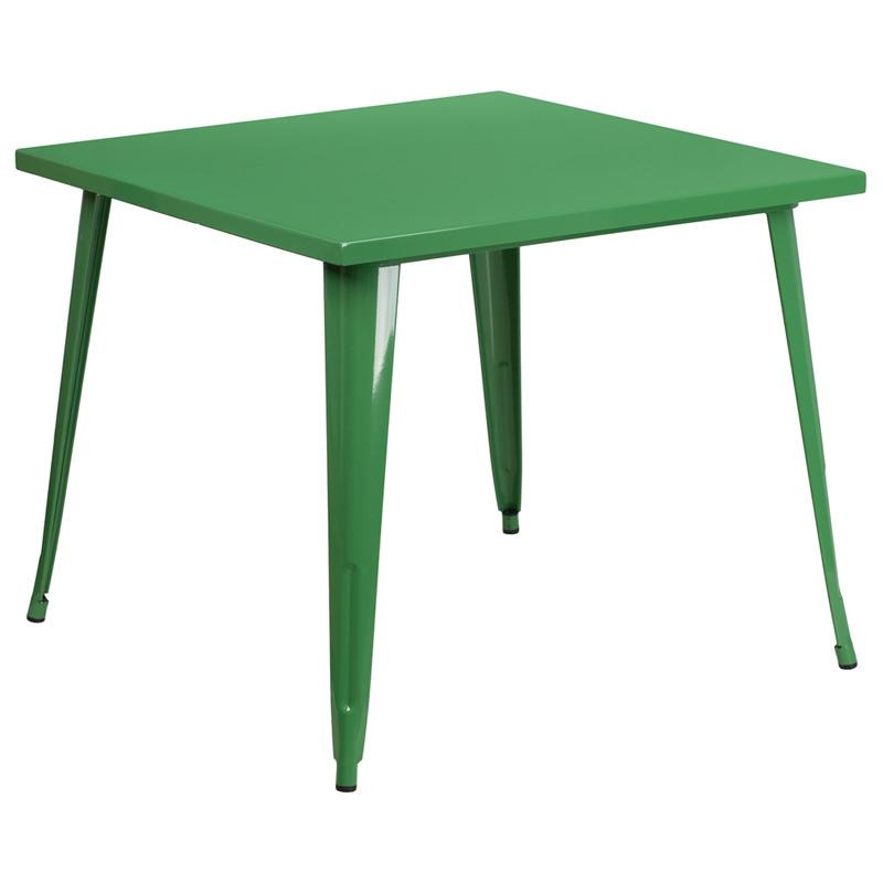 Flash Furniture 35.5'' Square Green Metal Indoor-Outdoor Table - CH-51050-29-GN-GG