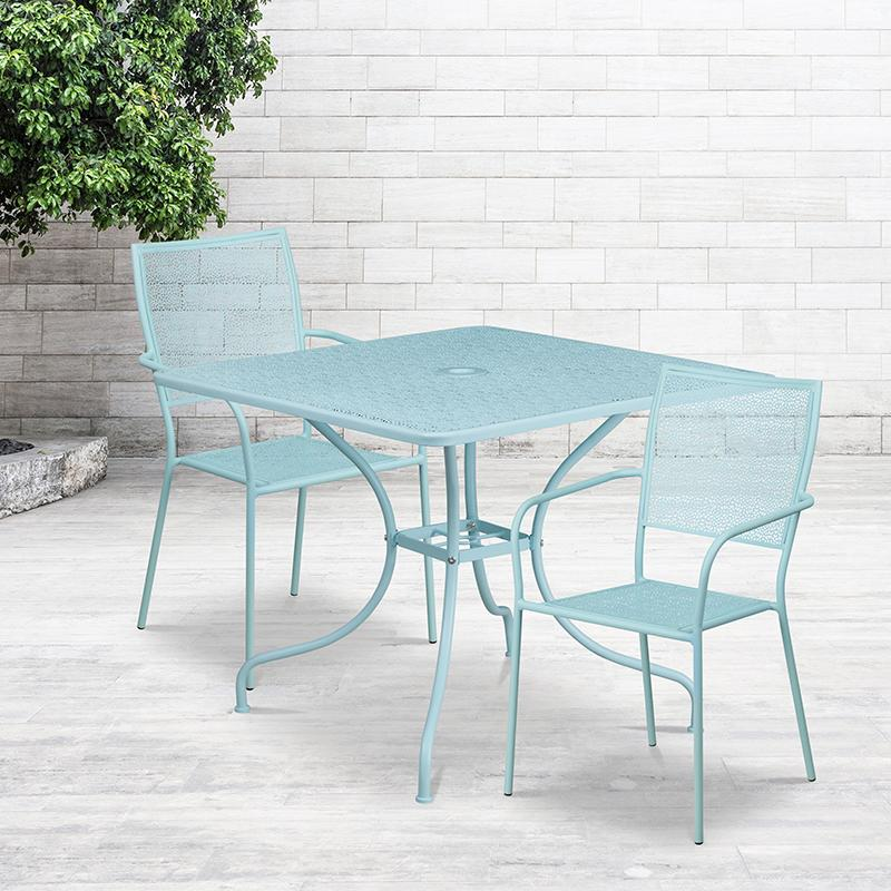 Flash Furniture 35.5'' Square Sky Blue Indoor-Outdoor Steel Patio Table Set with 2 Square Back Chairs - CO-35SQ-02CHR2-SKY-GG