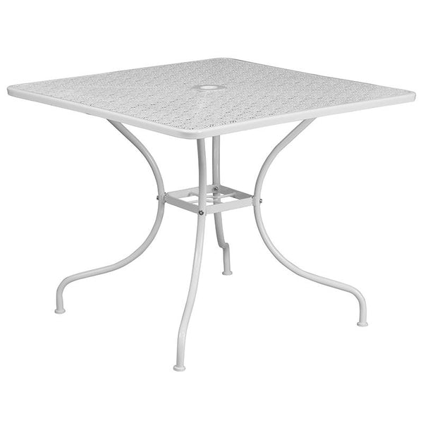 Flash Furniture 35.5'' Square White Indoor-Outdoor Steel Patio Table Set with 2 Square Back Chairs - CO-35SQ-02CHR2-WH-GG