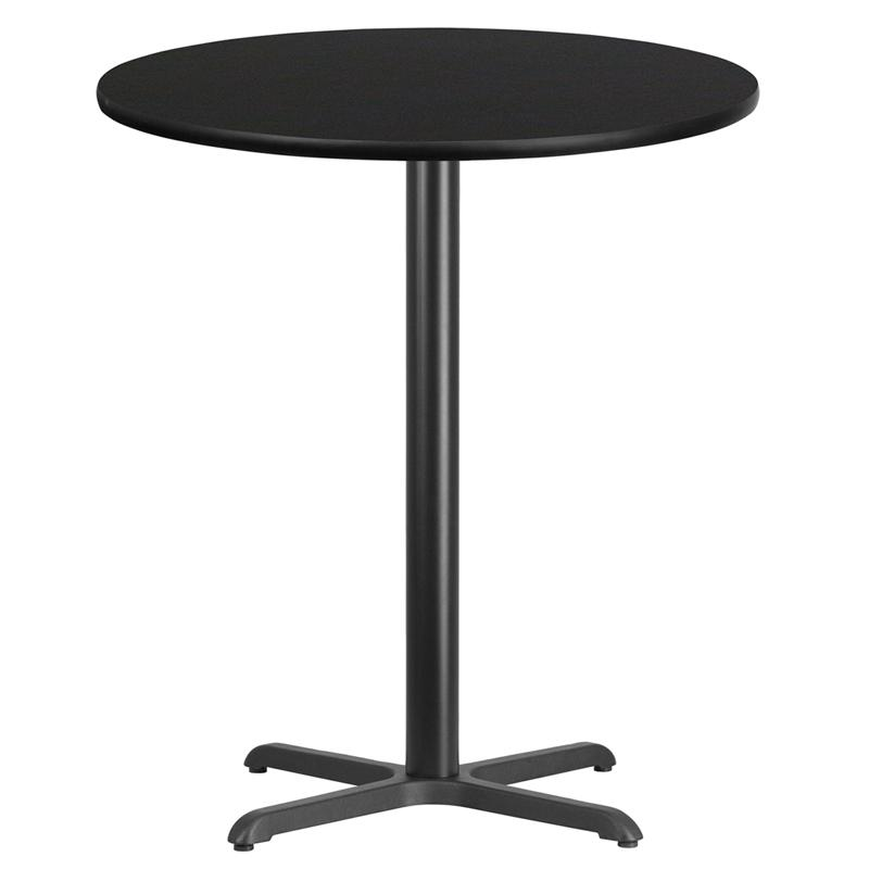 Flash Furniture 36'' Round Black Laminate Table Top with 30'' x 30'' Bar Height Table Base - XU-RD-36-BLKTB-T3030B-GG