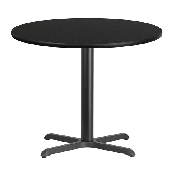 Flash Furniture 36'' Round Black Laminate Table Top with 30'' x 30'' Table Height Base - XU-RD-36-BLKTB-T3030-GG
