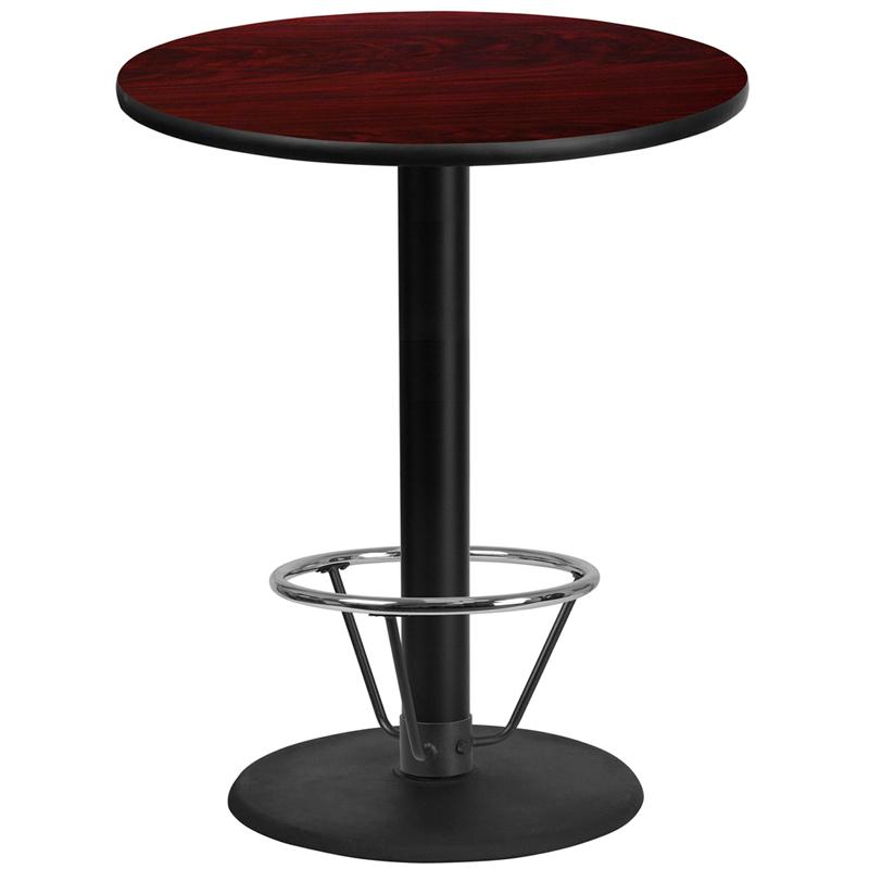 Flash Furniture 36'' Round Mahogany Laminate Table Top with 24'' Round Bar Height Table Base and Foot Ring - XU-RD-36-MAHTB-TR24B-4CFR-GG