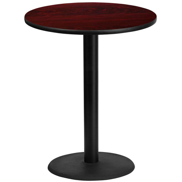 Flash Furniture 36'' Round Mahogany Laminate Table Top with 24'' Round Bar Height Table Base - XU-RD-36-MAHTB-TR24B-GG