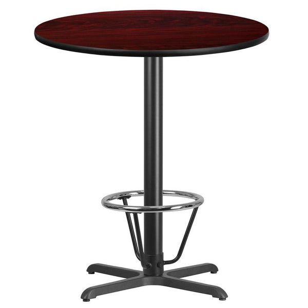 Flash Furniture 36'' Round Mahogany Laminate Table Top with 30'' x 30'' Bar Height Table Base and Foot Ring - XU-RD-36-MAHTB-T3030B-3CFR-GG
