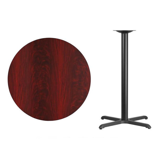 Flash Furniture 36'' Round Mahogany Laminate Table Top with 30'' x 30'' Bar Height Table Base - XU-RD-36-MAHTB-T3030B-GG