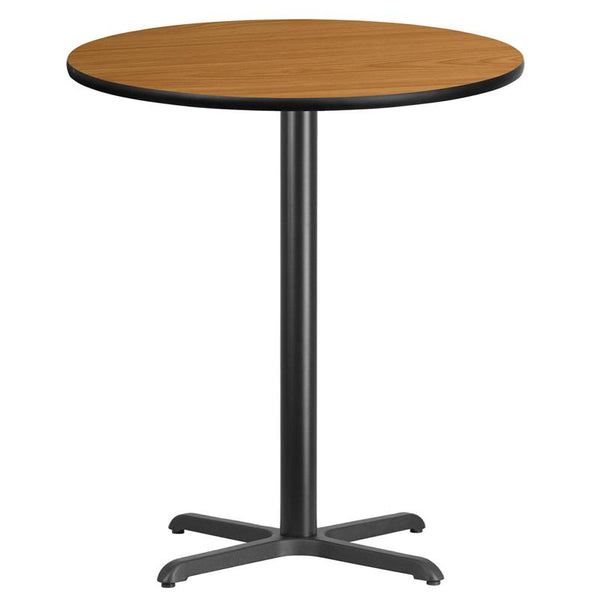 Flash Furniture 36'' Round Natural Laminate Table Top with 30'' x 30'' Bar Height Table Base - XU-RD-36-NATTB-T3030B-GG