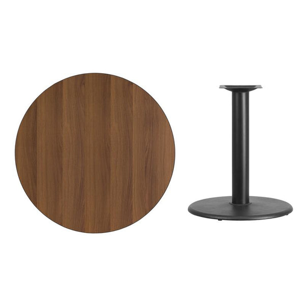 Flash Furniture 36'' Round Walnut Laminate Table Top with 24'' Round Table Height Base - XU-RD-36-WALTB-TR24-GG