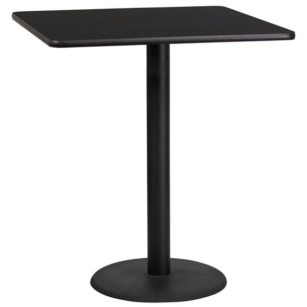 Flash Furniture 36'' Square Black Laminate Table Top with 24'' Round Bar Height Table Base - XU-BLKTB-3636-TR24B-GG