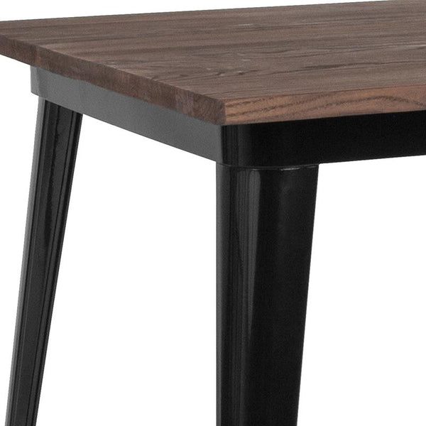 "Flash Furniture 36"" Square Black Metal Indoor Table with Walnut Rustic Wood Top - CH-51050-29M1-BK-GG"
