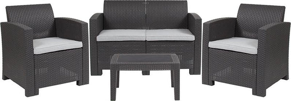 Flash Furniture 4 Piece Outdoor Faux Rattan Chair, Loveseat and Table Set in Dark Gray - DAD-SF-112T-DKGY-GG