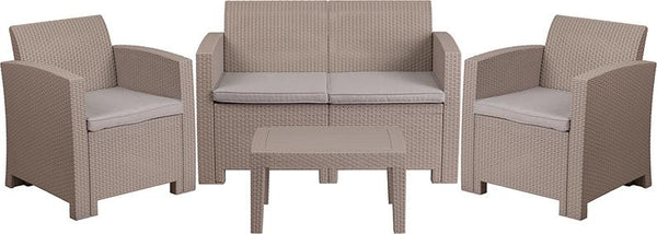 Flash Furniture 4 Piece Outdoor Faux Rattan Chair, Loveseat and Table Set in Light Gray - DAD-SF-112T-CRC-GG