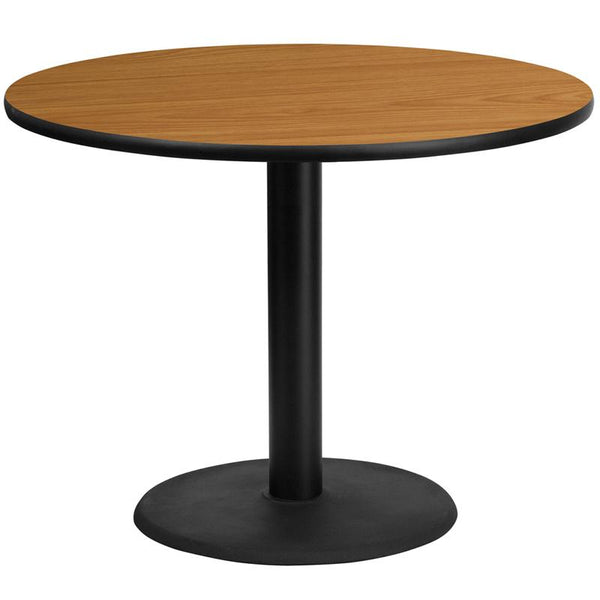 Flash Furniture 42'' Round Natural Laminate Table Top with 24'' Round Table Height Base - XU-RD-42-NATTB-TR24-GG
