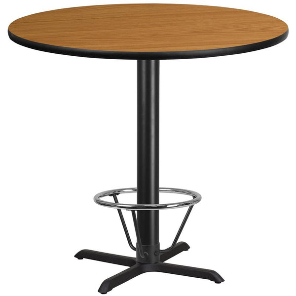 Flash Furniture 42'' Round Natural Laminate Table Top with 33'' x 33'' Bar Height Table Base and Foot Ring - XU-RD-42-NATTB-T3333B-4CFR-GG