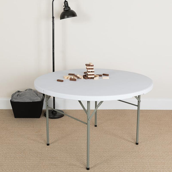 Flash Furniture 48'' Round Bi-Fold Granite White Plastic Folding Table - DAD-122RZ-GG