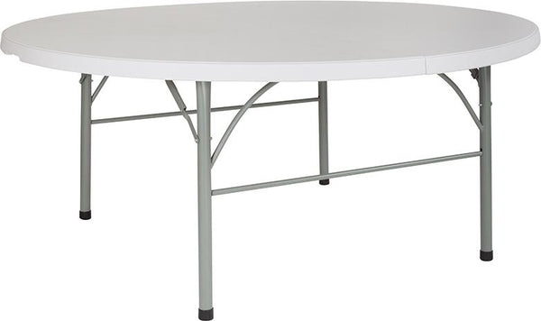 Flash Furniture 72'' Round Bi-Fold Granite White Plastic Folding Table - DAD-183RZ-GG