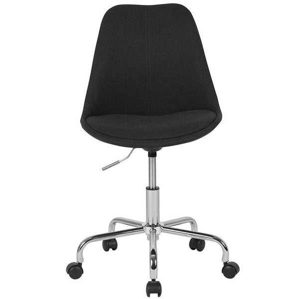 Flash Furniture Aurora Series Mid-Back Black Fabric Task Chair with Pneumatic Lift and Chrome Base - CH-152783-BK-GG