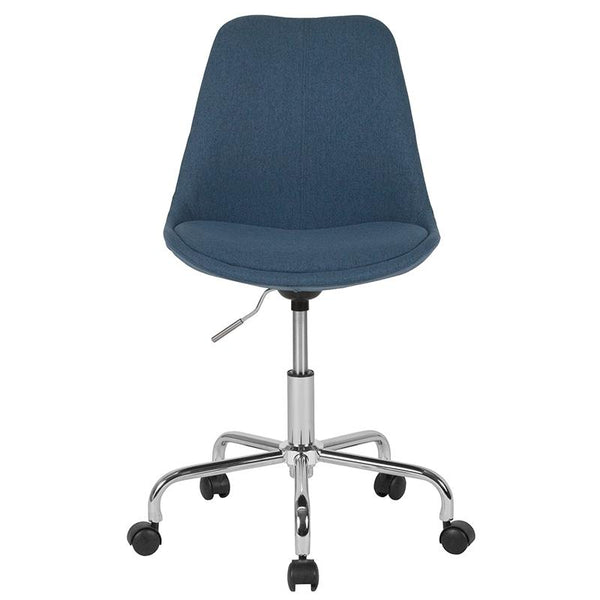 Flash Furniture Aurora Series Mid-Back Blue Fabric Task Chair with Pneumatic Lift and Chrome Base - CH-152783-BL-GG