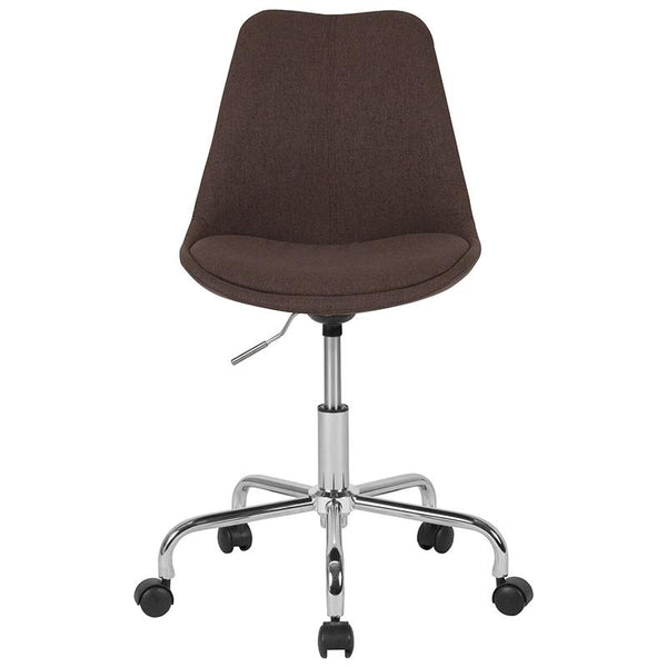 Flash Furniture Aurora Series Mid-Back Brown Fabric Task Chair with Pneumatic Lift and Chrome Base - CH-152783-BN-GG